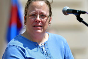 Rowan County Kentucky Clerk Kim Davis speaks to a gathering of supporters during a rally on the steps of the Kentucky State Capitol in Frankfort Ky. Timothy D. Easley/AP