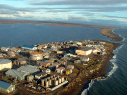 In this photo taken in September 2005, Kivalina, an Inupiat Eskimo village, is seen in on a barrier island off the coast of northwest Alaska.