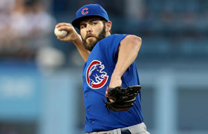 Jake Arrieta of the Chicago Cubs throws a no-hitter against the Los Angeles Dodg...