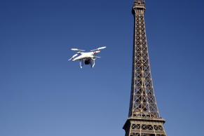 A drone near the Eiffel Tower in Paris, France.
