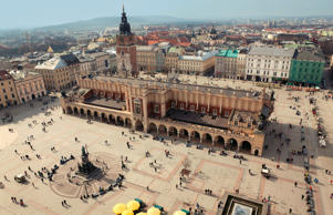 View of Main Square from Mariacka Tower in Krakow, Poland.