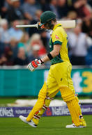 Steve Smith looks dejected after he was out. Australia suffered a five-run loss to England in their one-off Twenty20 clash in Cardiff