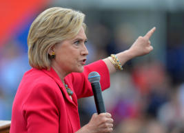 In this photo taken Aug. 27, 2015, Democratic presidential candidate Hillary Rodham Clinton speaks in Cleveland.