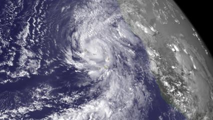 Hurricane Fred is seen near the Cape Verde Islands in this NOAA Goes East satellite image taken 13:35 ET (17:45 GMT) August 31, 2015.  Hurricane Fred strengthened early Monday in the eastern Atlantic as it approached the Cape Verde Islands, while the remnants of Tropical Storm Erika brought flooding to parts of South Carolina, according to U.S. forecasters. NOAA/Reuters