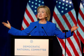 Democratic presidential candidate, Hillary Rodham Clinton, addresses the summer meeting of the Democratic National Committee, Aug. 28, 2015, in Minneapolis.