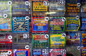 Scratch-off lottery tickets for sale are on display in 2014.