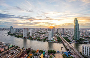 View of river in Bangkok city.