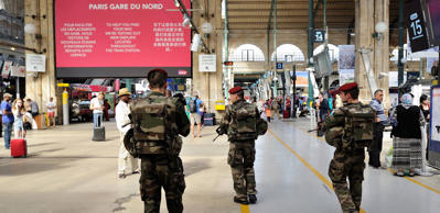 French soldiers patrol at Gare du Nord train station in Paris on Aug. 22, 2015.