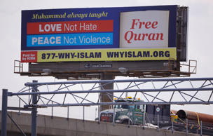 In this Monday, Aug. 31, 2015 photo a billboard proclaims the teachings of Islam near the Massachusetts Avenue Exit of I-93 north in Boston.