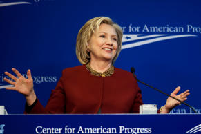 File: Hillary Clinton, former U.S. secretary of state, speaks at the Center for American Progress in Washington, D.C., U.S., on Monday, March 23, 2015.