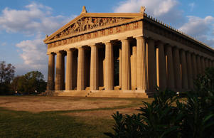 A replica of the Parthenon as seen in Centennial Park in Nashville, Tenn.