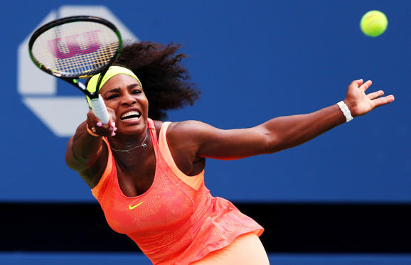 Serena Williams of the United States returns a shot to Kiki Bertens of the Netherlands during their Women's Singles Second Round match on Day Three of the 2015 US Open at the USTA Billie Jean King National Tennis Center on Wednesday in New York. Williams won 7-6, 6-3.
