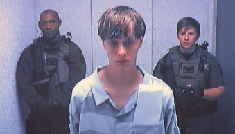 Dylann Roof appears via video before a judge in Charleston, S.C., on Friday, Jun...