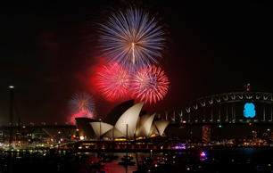New Year's fireworks over the Sydney Opera House in Sydney, Australia, December ...