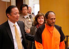 Francisco Sanchez (R) enters court for an arraignment with San Francisco public defender Jeff Adachi (L) on July 7, 2015 in San Francisco, California. Francisco Sanchez pleaded not guilty to charges that he shot and killed 32 year-old Kathryn Steinle as she walked on Pier 14 in San Francisco with her father last week.