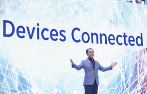 YH Eom, President of Samsung Electronics Europe, speaks at the Samsung press conference during a press day at the 2015 IFA consumer electronics and appliances trade fair on September 3, 2015 in Berlin, Germany.