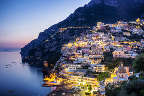 Sunset in Positano on Italy's Amalfi Coast.