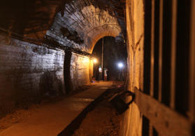 A view of a tunnel and shelter approximately 50 meters under Ksiaz Castle that t...
