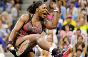Serena Williams celebrates after defeating Bethanie Mattek-Sands in the third round Sept. 4 in New York. Williams won 3-6, 7-5, 6-0.