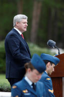 Canadian Prime Minister Stephen Harper speaks during memorial ceremonies in honor of Canadian soldiers