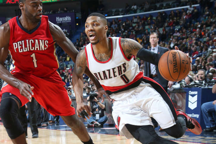 Damian Lillard of the Portland Trail Blazers handles the ball against the New Orleans Pelicans during a game last season in New Orleans.