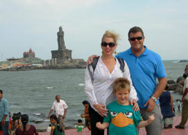 In this updated photo posted on a community page, Scott Darden (R) and family are seen on holiday in India.