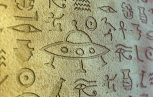 Flying saucer sign among egypt hieroglyphs.