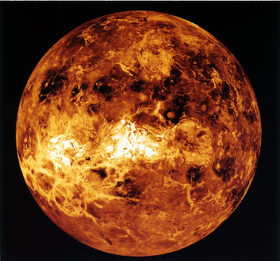 Venus, The dark areas scattered across the Venusian plains consist of extremely smooth deposits associated with large meteorite impacts. The bright feature near the center of the image is Ovda Regio, a Aphrodite equatorial Highland.