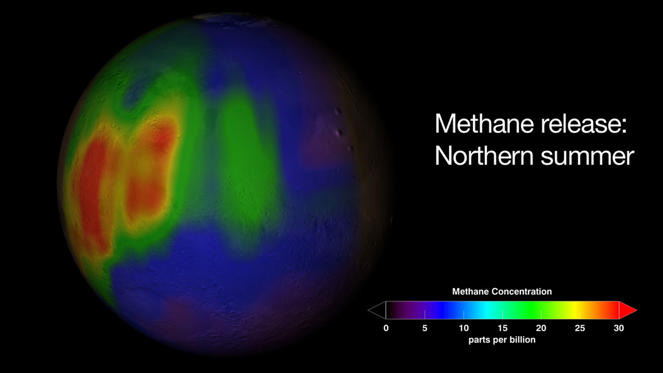 This undated handout visualization provided by NASA shows a methane plume found in Mars' atmosphere during the northern summer season. A surprising and mysterious belch of methane gas on Mars hints at possible microbial life underground, but also could come from changes in rocks, a new NASA study found. (AP Photo/NASA, Trent Schindler