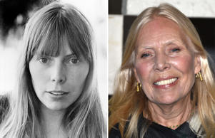 "FILE - This 1972 file photo shows Canadian folk singer-songwriter Joni Mitchell. A woman identified as Mitchell's friend of more than 44 years, Leslie Morris, stated in a Tuesday, April 28, 2015, court filing in Los Angeles that Mitchell is unconscious and unable to care for herself. A doctor's declaration accompanying Morris' petition to be named Mitchell's conservator states the singer-songwriter will not be able to attend any court hearings for at least four to six months, but offers no additional details on Mitchell's illness or prognosis. (AP Photo, File)  FILE - Joni Mitchell arrives to the Hammer Museum's ""Gala In The Garden"" in this Saturday, Oct. 11, 2014 file photo taken in Los Angeles. Mitchell was hospitalized in Los Angeles on Tuesday, March 31, 2015 according to the Twitter account and website of the folk singer and Rock and Roll Hall of Famer, but details on her condition have not been released. (Photo by John Shearer/Invision/AP, File)"