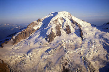Aerial view of glacier with numerous crevasses, Mount Baker, North Cascades, Washington, USA