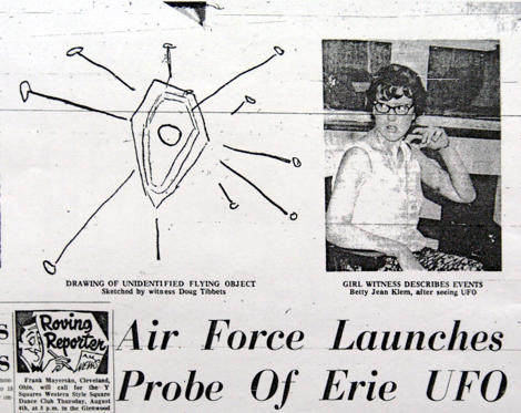 An image from microfilm of the August 1, 1966 Erie Morning News story reporting on a UFO sighting at Presque Isle State Park the night before is shown in Erie, Pa. Countless people searched the skies that summer as reports of UFO sightings continued to spread from points across the country. (AP Photo/Erie Times-News)