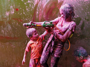 Children take part in Holi celebrations in Chennai, India.