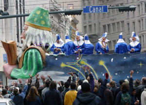Floats with the Krewe of Carrollton parade roll down Canal Street celebrating the first weekend of the Mardi Gras carnival in New Orleans.