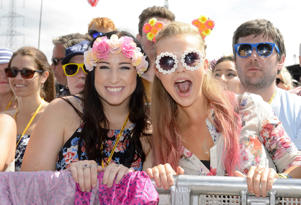 Revelers on the front row of the Pyramid stage during the Glastonbury Festival in Somerset, Britain.