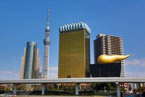 General view of the city skyline in Asakusa with the Tokyo Skytree Tower and the Asahi Beer Headquarters with a gold flame, Tokyo, Japan.