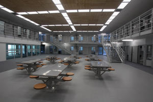 An accommodation block and dining area is pictured within the new Mt Eden Corrections Facility in Auckland, New Zealand.