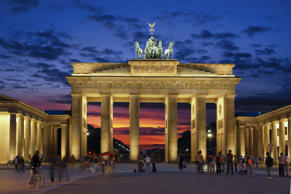 Brandenburg Gate at night, Berlin, Germany, Europe