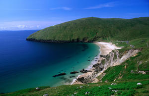 The remote sandy cove of Keem Strand, Achill Island, County Mayo, Connacht, Ireland, Europe.