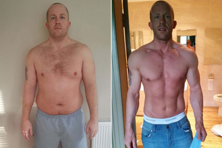 <p>Paul before (left) and after (right) losing weight.</p>