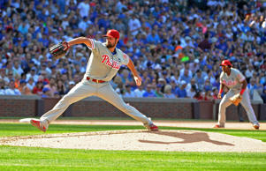 Cole Hamels of the Philadelphia Phillies pitches against the Chicago Cubs during the sixth inning on July 25, 2015 at Wrigley Field in Chicago.
