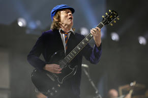 Angus Young of AC/DC performs at the 2015 Coachella Music and Arts Festival on Friday, April 17, 2015, in Indio, Calif.