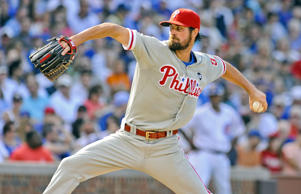 Philadelphia Phillies' starting pitcher Cole Hamels delivers during the seventh inning of baseball game against the Chicago Cubs in Chicago, Saturday, July 25, 2015.