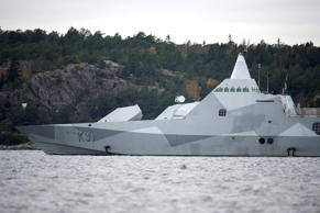 Swedish corvette HMS Visby hunts for missing submarine in 2014