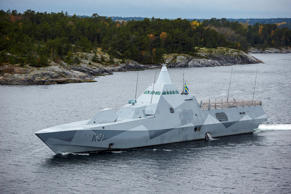 Swedish navy corvette HMS Visby patrols in the Stockholm Archipelago, Sweden, on Oct. 19 2014. The Swedish military searched for evidence of suspected undersea activity in its waters amid reports of a suspected Russian intrusion.