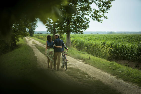 Diapositiva 1 de 16: Rear view of a happy couple walking holding bike