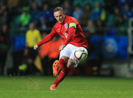 England's Wayne Rooney has a shot on goal during the UEFA Euro 2016 Qualifying match at the A. Le Coq Arena, Tallinn.