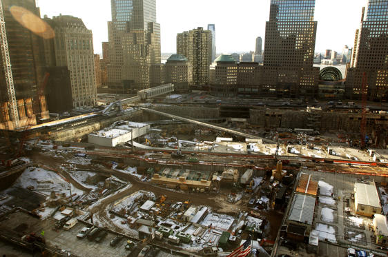 The scene from an elevated position above 'ground zero', the site where the World Trade Centre twin towers stood, before being destroyed when terrorists crashed planes into them on Setember 11, 2001.
