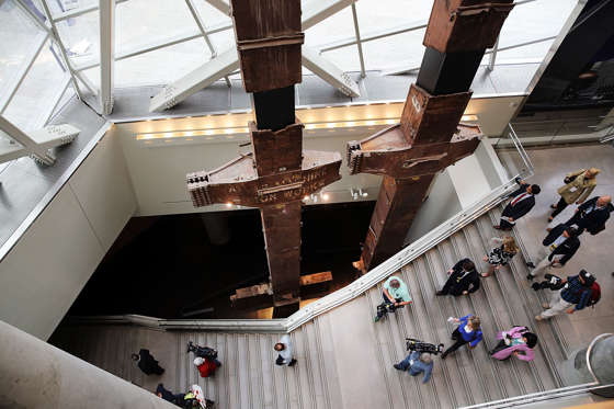 NEW YORK, NY - MAY 14: The salvaged tridents from the World Trade Center are viewed during a preview of the National September 11 Memorial Museum on May 14, 2014 in New York City. The long awaited museum will open to the public on May 21 following a six-day dedication period for 9/11 families, survivors, first responders ,workers, and local city residents. For the dedication period the doors to the museum will be open for 24-hours a day from May 15 through May 20. On Thursday President Barack Obama and the first lady will attend the dedication ceremony for the opening of the museum. While the construction of the museum has often been fraught with politics and controversy, the exhibitions and displays seek to pay tribute to the 2,983 victims of the 9/11 attacks and the 1993 bombing while also educating the public on the September 11 attacks on the World Trade Center, the Pentagon and in Pennsylvania. (Photo by Spencer Platt/Getty Images)