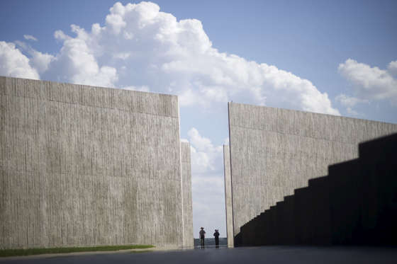 United States Park Rangers walk through the newly opened Flight 93 Memorial in Shanksville, Pennsylvania, September 9, 2015. The new $50 million visitors center at the heart of a national memorial created out of the crash site will be formally dedicated on Thursday, a day before ceremonies mark the fourteenth anniversary of the worst terrorist attack on American soil. On September 11, 2001, one of the four planes overtaken by al Qaeda terrorists crashed into Pennsylvania, killing all 40 passengers aboard.